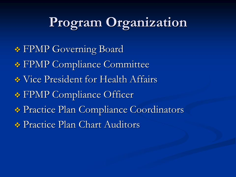 Code of Conduct  Compliance with all laws, regulations, policies and procedures  Relationship with other providers  Claims with third party payors  Controlled substances  Confidential information  Conflict of Interest  Business information and relationships  Violations