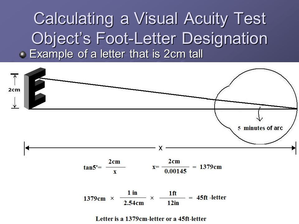Calculating a Visual Acuity Test Object's Foot-Letter Designation Example of a letter that is 2cm tall
