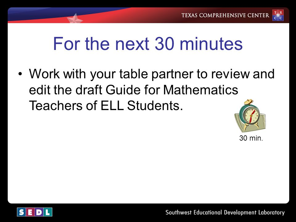 Master Version As a table group, discuss the edits and additions made during the partner work time. In the next 30 minutes, develop one master copy fo