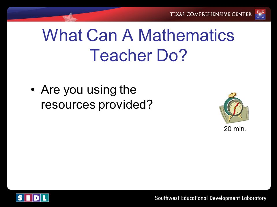 For the next 30 minutes 30 min. Work with your table partner to review and edit the draft Guide for Mathematics Teachers of ELL Students.