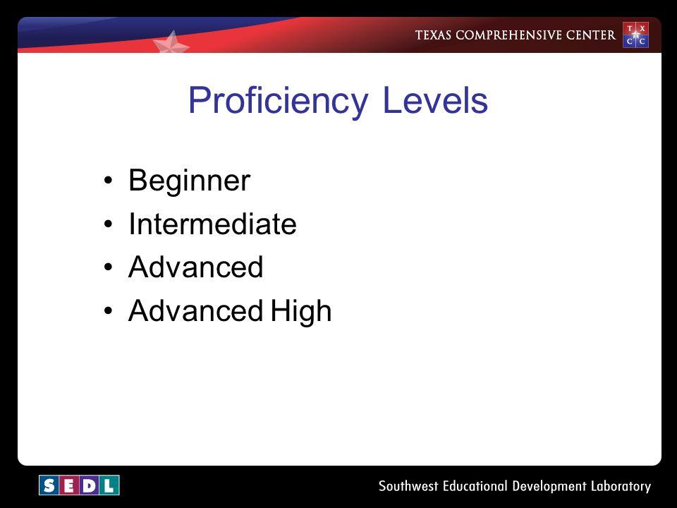 Proficiency Levels Beginner Intermediate Advanced Advanced High