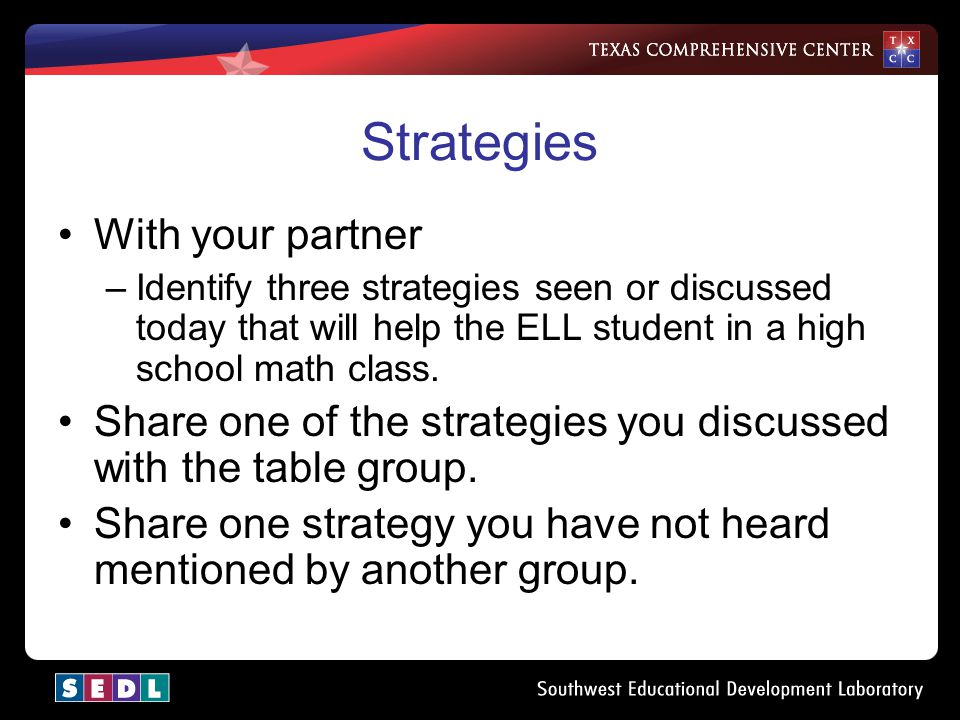 Strategies With your partner –Identify three strategies seen or discussed today that will help the ELL student in a high school math class.
