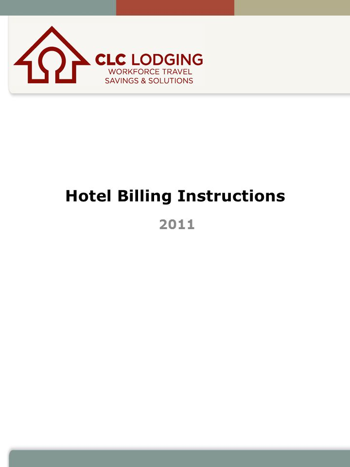 Hotel Billing Instructions 2011