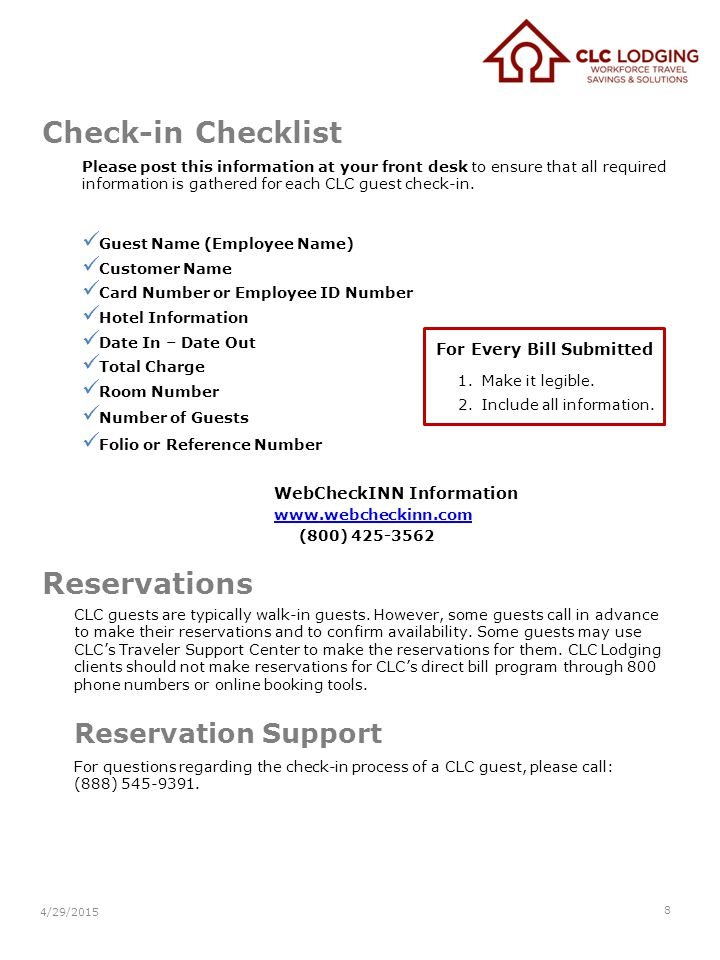 Check-in Checklist Please post this information at your front desk to ensure that all required information is gathered for each CLC guest check-in. Gu