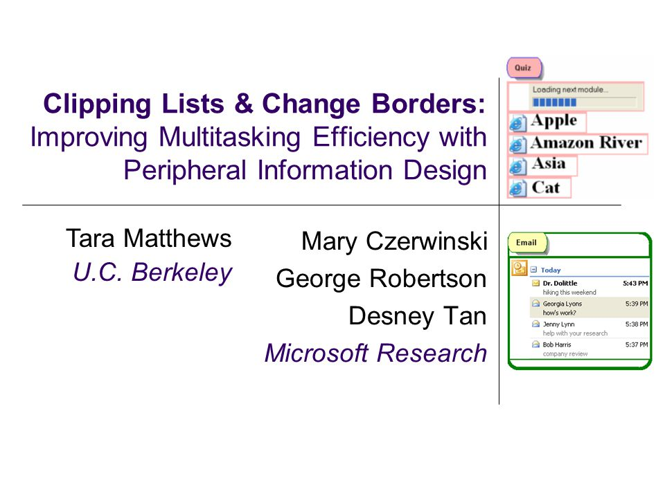 Clipping Lists & Change Borders: Improving Multitasking Efficiency with Peripheral Information Design Mary Czerwinski George Robertson Desney Tan Micr