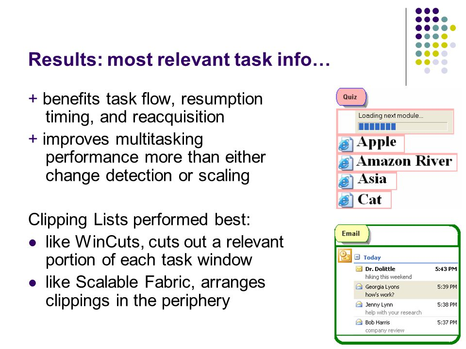 4 Results: most relevant task info… + benefits task flow, resumption timing, and reacquisition + improves multitasking performance more than either ch
