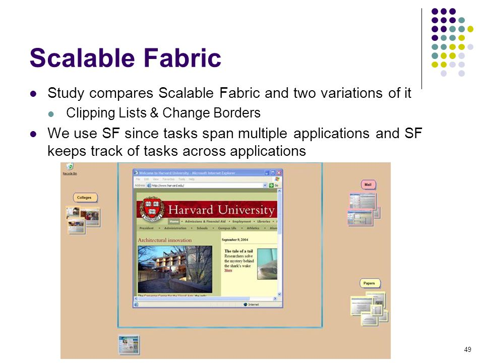 49 Scalable Fabric Study compares Scalable Fabric and two variations of it Clipping Lists & Change Borders We use SF since tasks span multiple applica