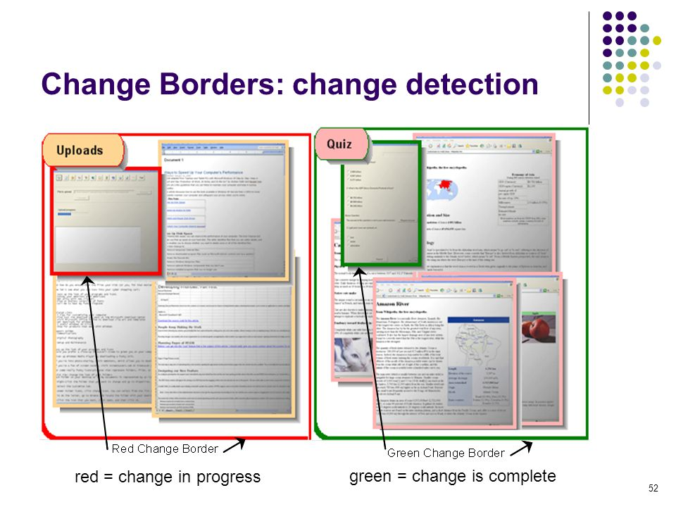 52 Change Borders: change detection red = change in progress green = change is complete