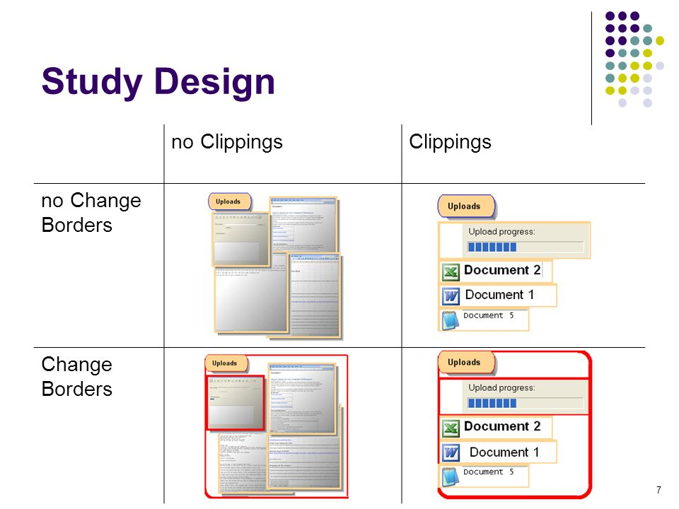 7 Study Design no ClippingsClippings no Change Borders Change Borders