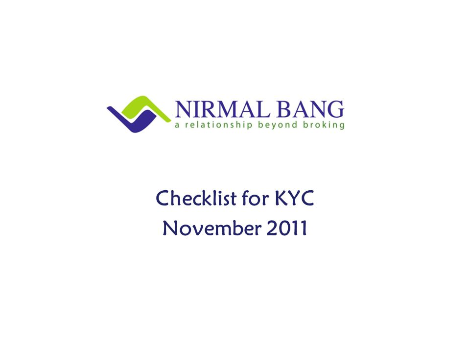 Checklist for KYC November 2011