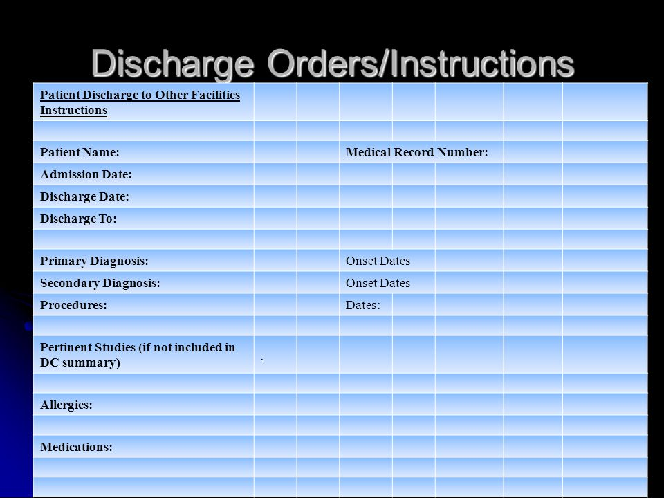 Discharge Orders/Instructions Patient Discharge to Other Facilities Instructions Patient Name:Medical Record Number: Admission Date: Discharge Date: Discharge To: Primary Diagnosis:Onset Dates Secondary Diagnosis:Onset Dates Procedures:Dates: Pertinent Studies (if not included in DC summary)` Allergies: Medications: