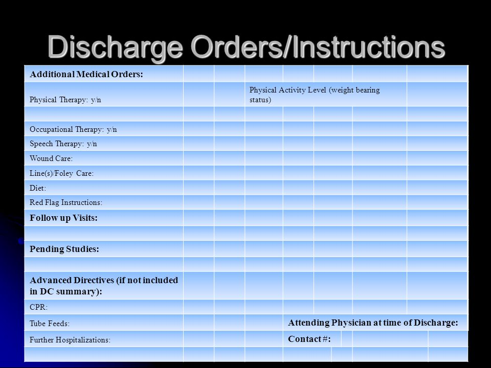 Discharge Orders/Instructions Additional Medical Orders: Physical Therapy: y/n Physical Activity Level (weight bearing status) Occupational Therapy: y/n Speech Therapy: y/n Wound Care: Line(s)/Foley Care: Diet: Red Flag Instructions: Follow up Visits: Pending Studies: Advanced Directives (if not included in DC summary): CPR: Tube Feeds: Attending Physician at time of Discharge: Further Hospitalizations: Contact #:
