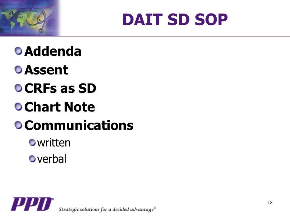 18 DAIT SD SOP Addenda Assent CRFs as SD Chart Note Communications written verbal