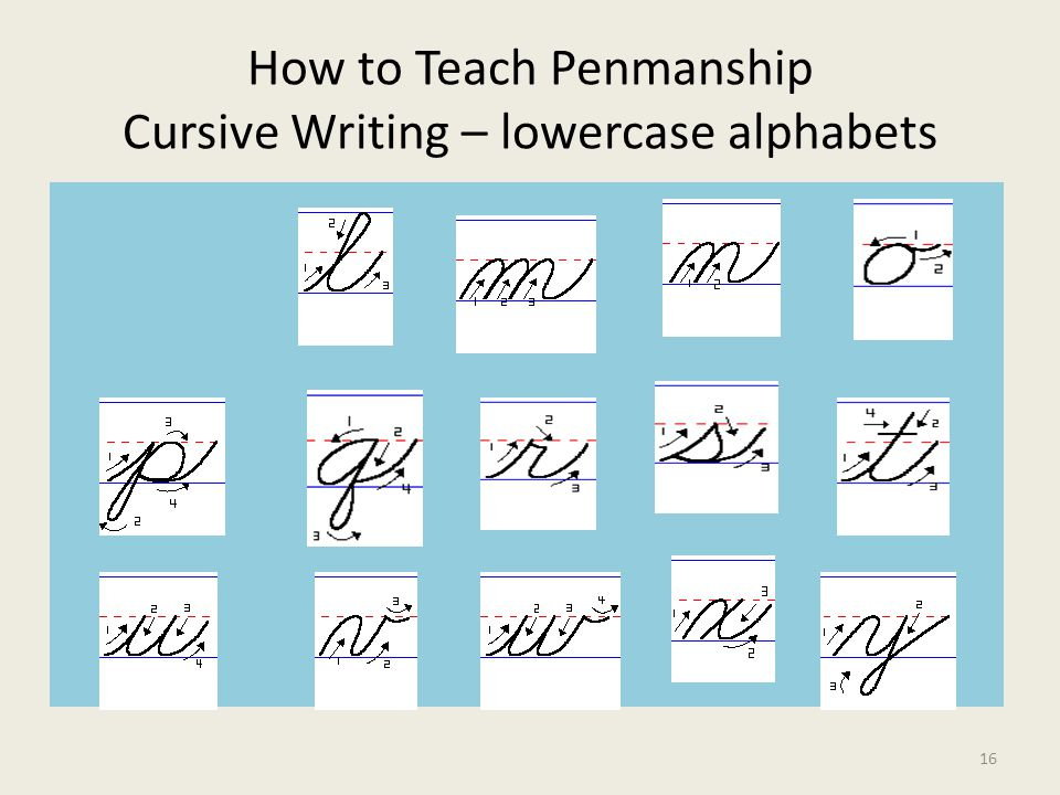 How to Teach Penmanship Cursive Writing – lowercase alphabets 16