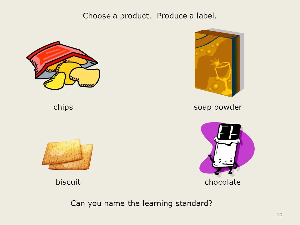 Choose a product. Produce a label. 20 chipssoap powder chocolatebiscuit Can you name the learning standard?