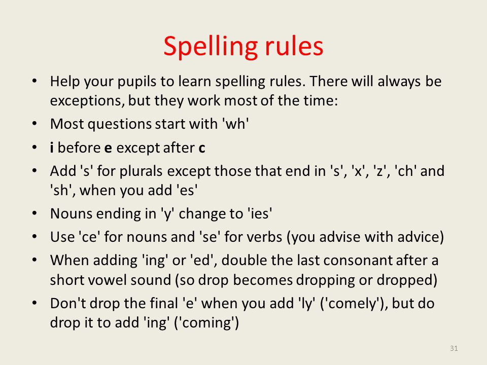 Spelling rules Help your pupils to learn spelling rules.