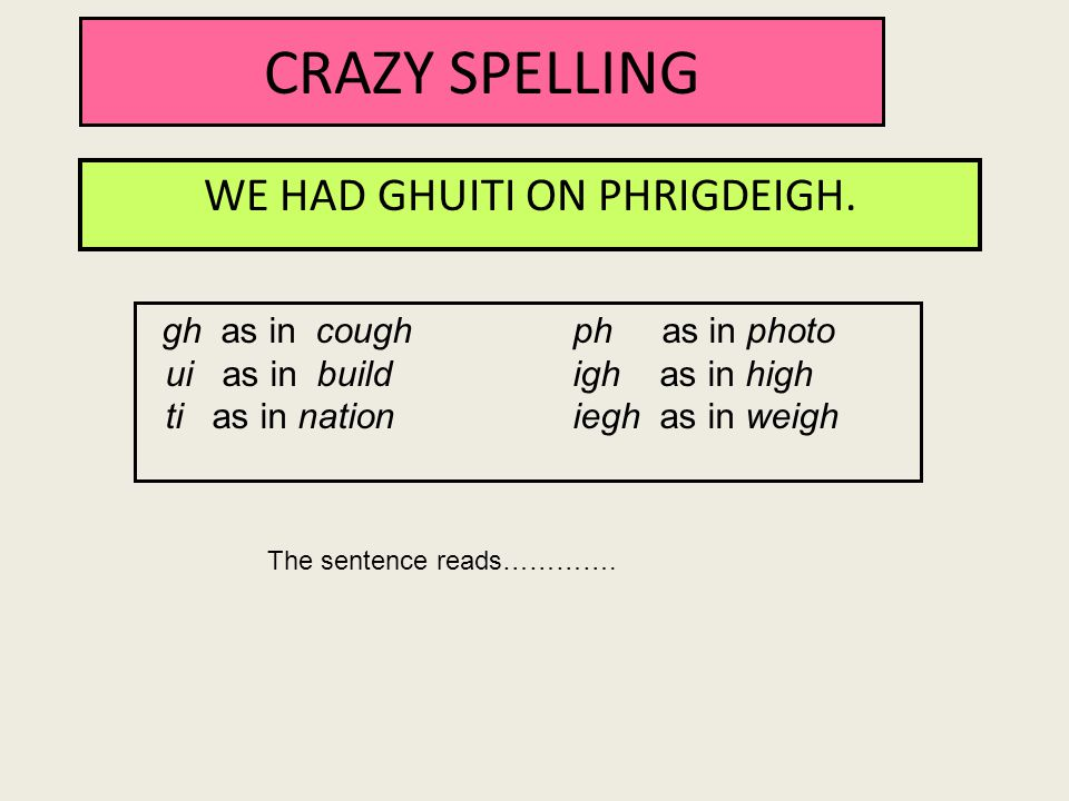 CRAZY SPELLING WE HAD GHUITI ON PHRIGDEIGH. gh as in coughph as in photo ui as in buildigh as in high ti as in nationiegh as in weigh The sentence rea