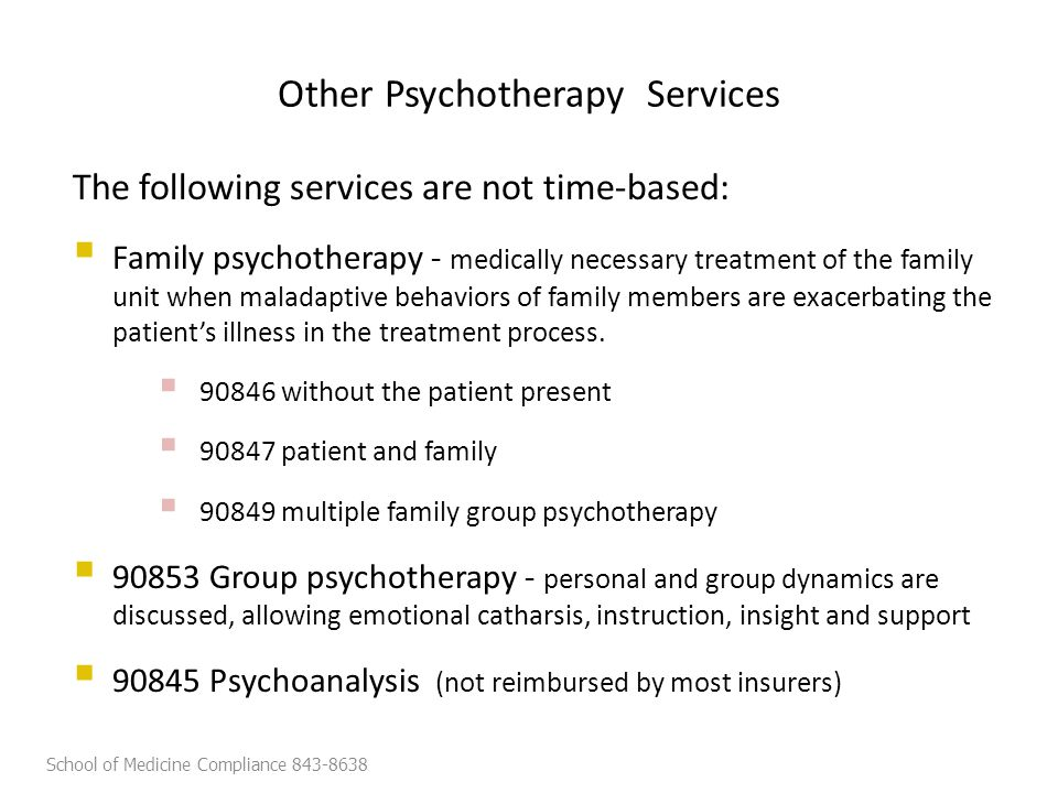 The following services are not time-based:  Family psychotherapy - medically necessary treatment of the family unit when maladaptive behaviors of family members are exacerbating the patient's illness in the treatment process.