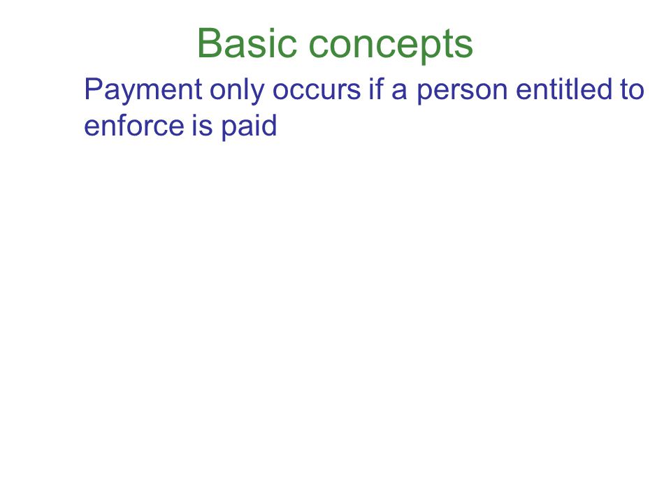 Basic concepts Payment only occurs if a person entitled to enforce is paid