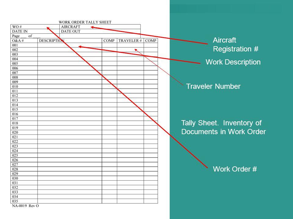 Work Order # Aircraft Registration # Work Description Traveler Number Tally Sheet. Inventory of Documents in Work Order