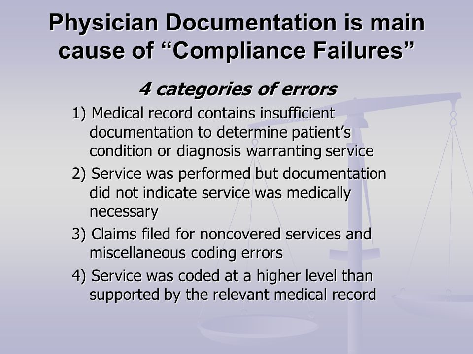Physician Documentation is main cause of Compliance Failures 4 categories of errors 1) Medical record contains insufficient documentation to determine patient's condition or diagnosis warranting service 2) Service was performed but documentation did not indicate service was medically necessary 3) Claims filed for noncovered services and miscellaneous coding errors 4) Service was coded at a higher level than supported by the relevant medical record