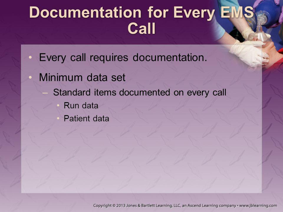 Documentation for Every EMS Call Every call requires documentation.