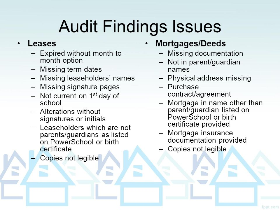 Audit Findings Issues Leases –Expired without month-to- month option –Missing term dates –Missing leaseholders' names –Missing signature pages –Not cu