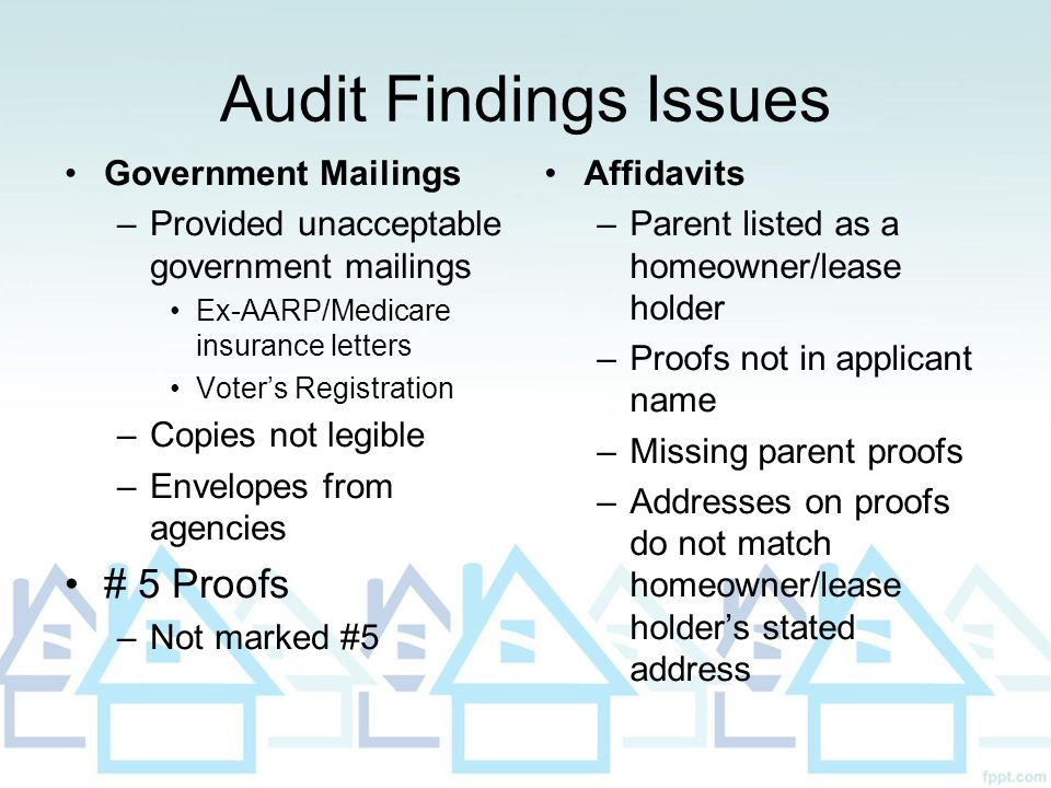 Audit Findings Issues Government Mailings –Provided unacceptable government mailings Ex-AARP/Medicare insurance letters Voter's Registration –Copies n