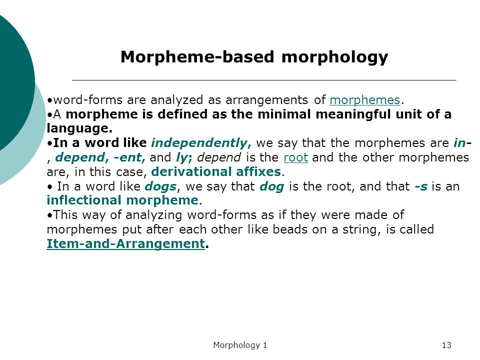 Morphology 113 word-forms are analyzed as arrangements of morphemes.morphemes A morpheme is defined as the minimal meaningful unit of a language. In a