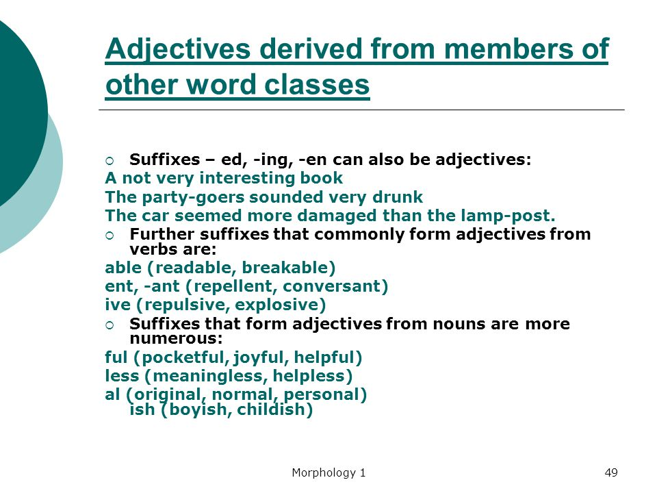 Morphology 149 Adjectives derived from members of other word classes  Suffixes – ed, -ing, -en can also be adjectives: A not very interesting book Th
