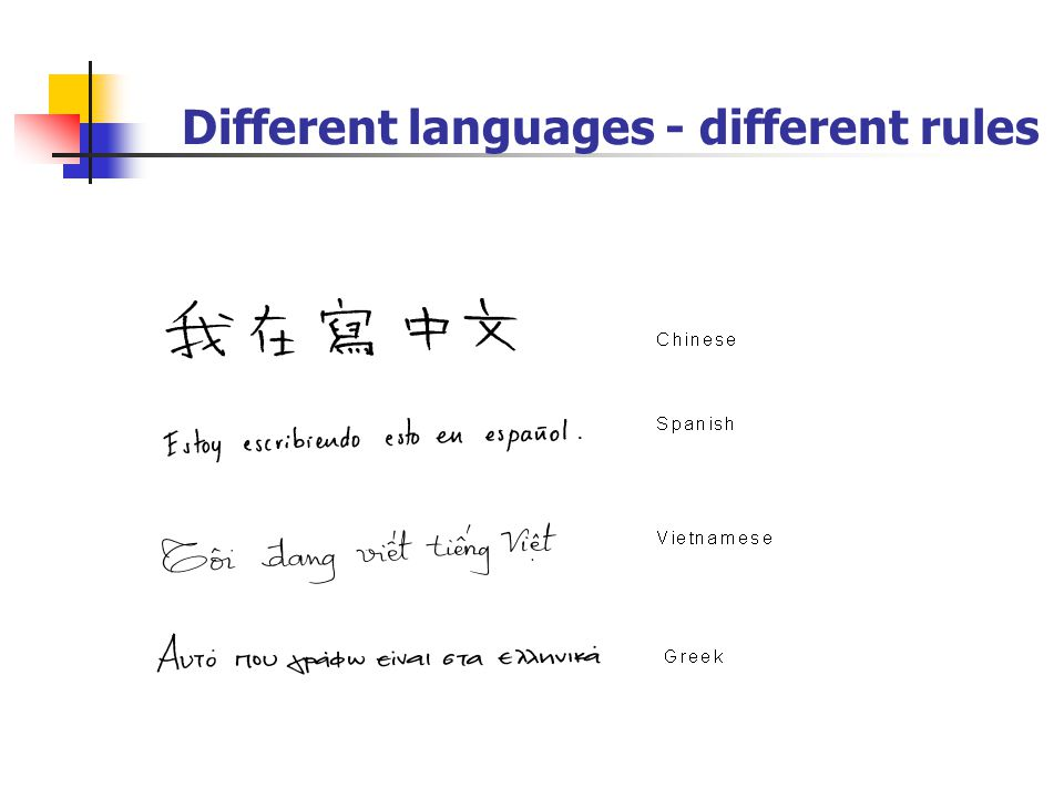 Different languages - different rules