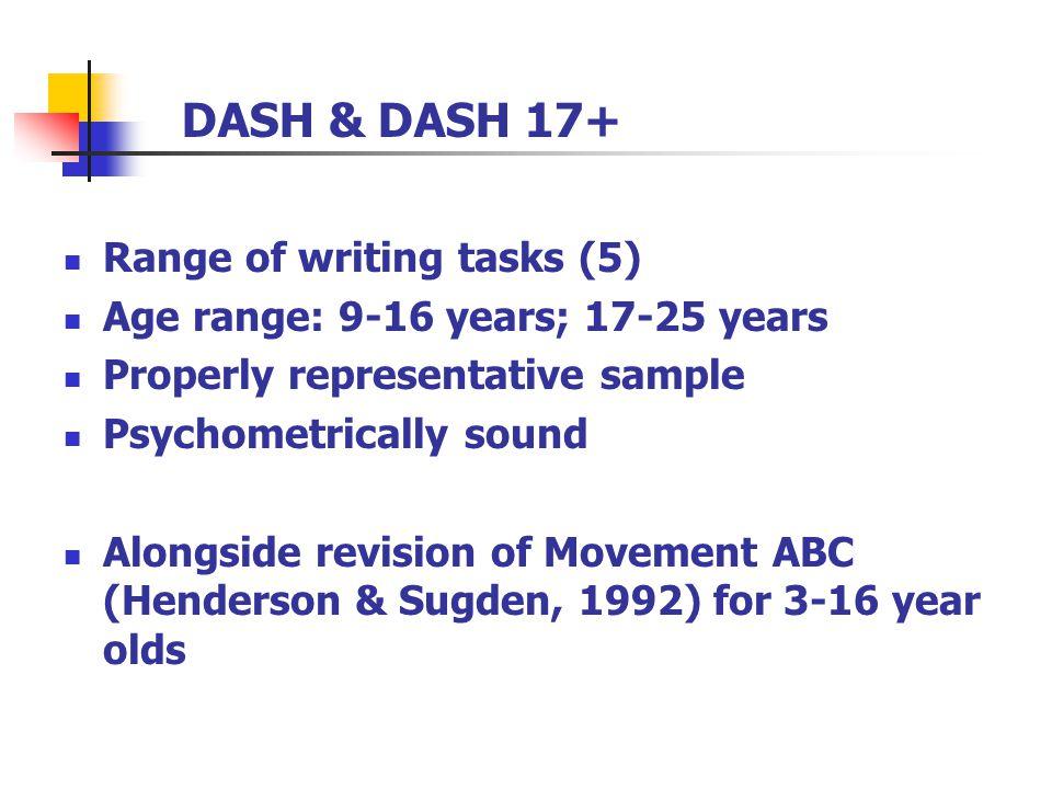 DASH & DASH 17+ Range of writing tasks (5) Age range: 9-16 years; 17-25 years Properly representative sample Psychometrically sound Alongside revision