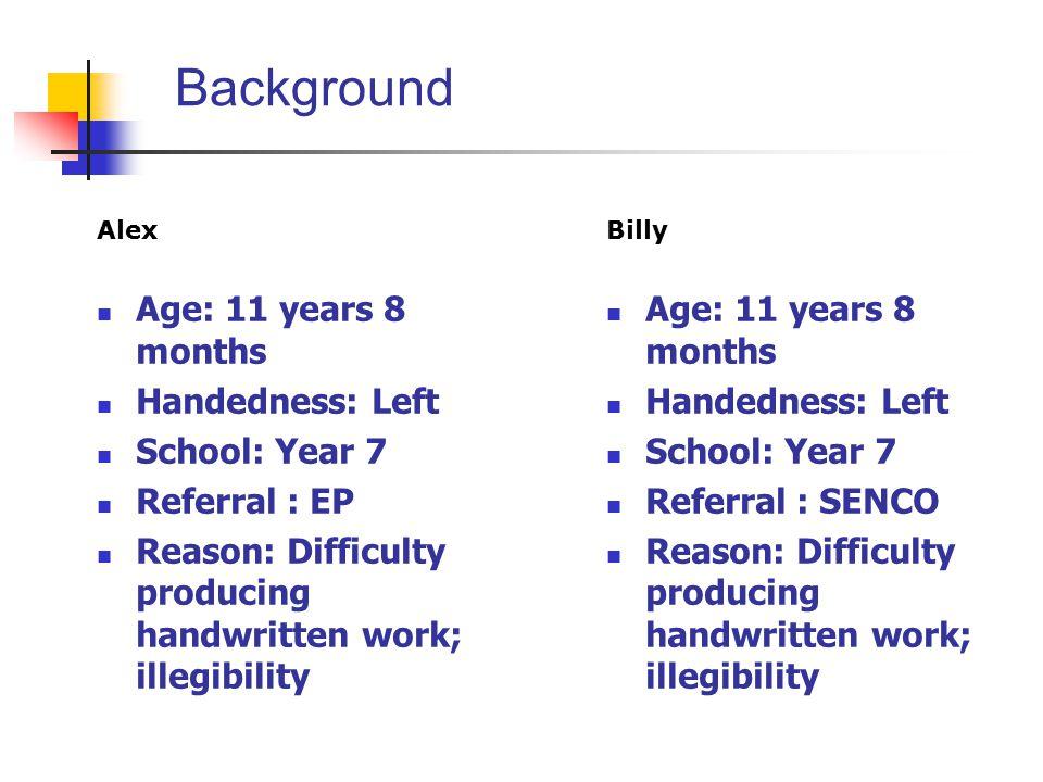 Background Alex Age: 11 years 8 months Handedness: Left School: Year 7 Referral : EP Reason: Difficulty producing handwritten work; illegibility Billy