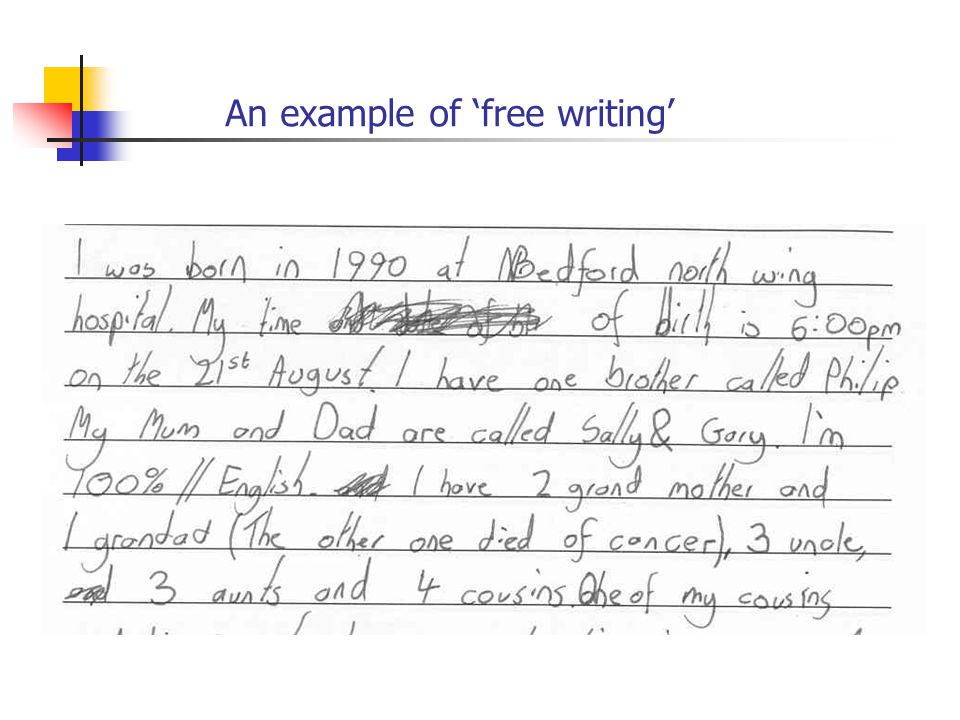 An example of 'free writing'