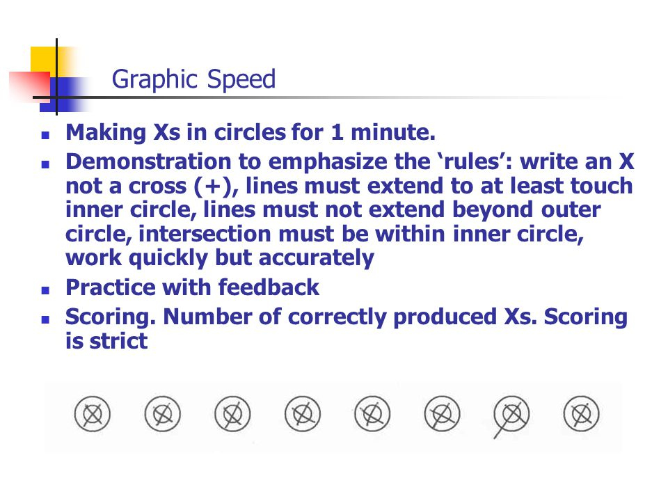 Graphic Speed Making Xs in circles for 1 minute. Demonstration to emphasize the 'rules': write an X not a cross (+), lines must extend to at least tou