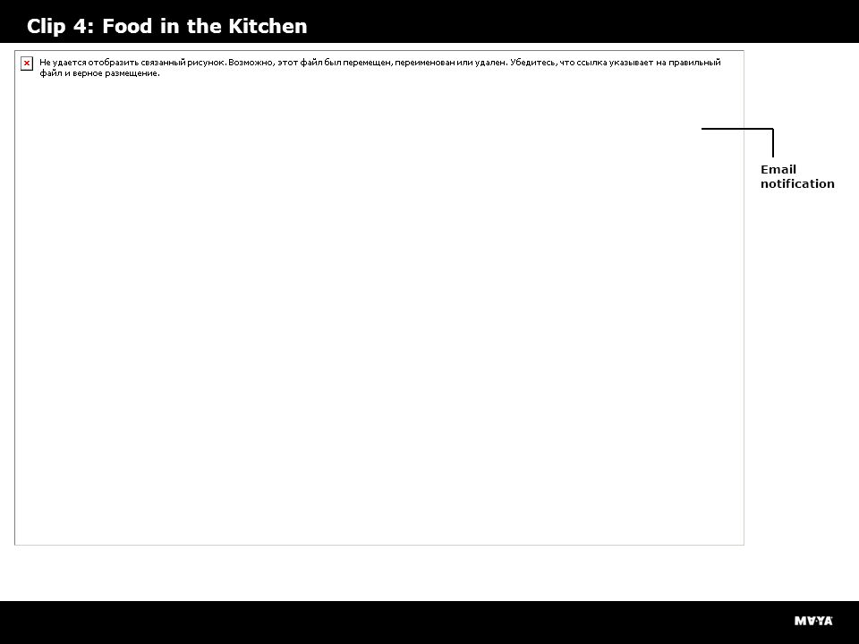 Clip 4: Food in the Kitchen Email notification