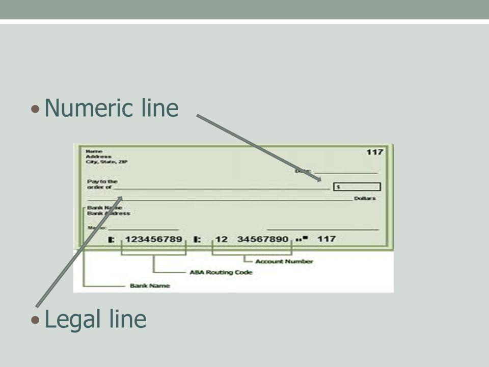 Numeric line Legal line