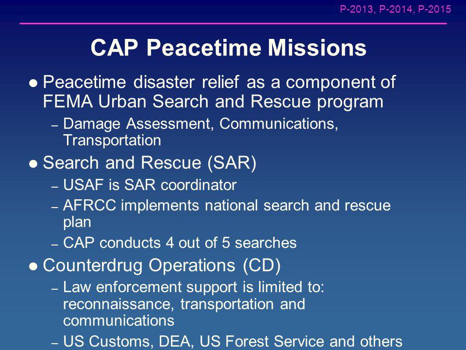 P-2013, P-2014, P-2015 CAP Civil Defense/Wartime Missions CAP OPLAN 1000 – Provide emergency communications network – Provide damage assessment – Supp