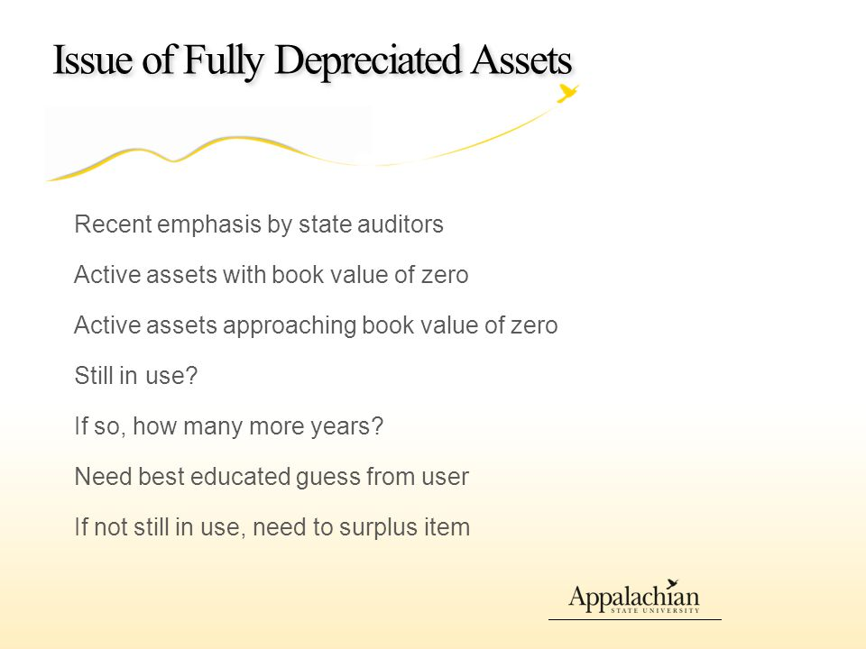 Issue of Fully Depreciated Assets Recent emphasis by state auditors Active assets with book value of zero Active assets approaching book value of zero Still in use.