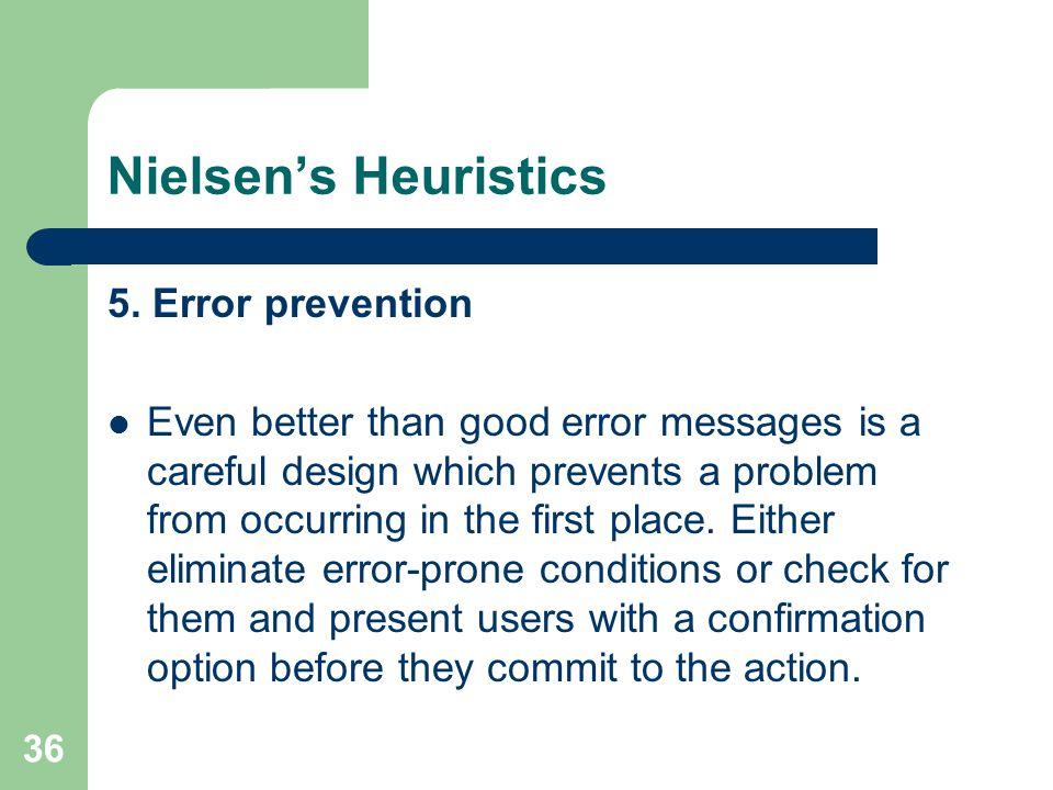 Nielsen's Heuristics 5.