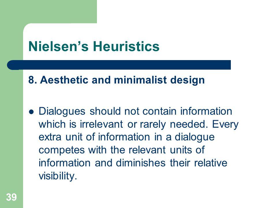 Nielsen's Heuristics 8.