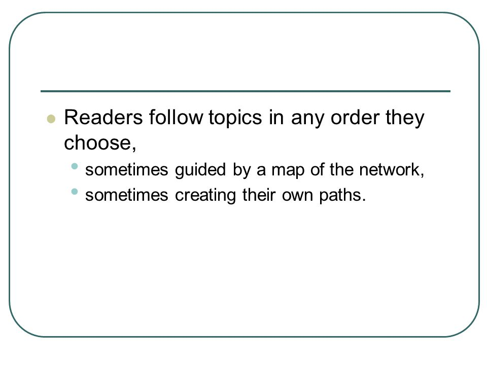 Readers follow topics in any order they choose, sometimes guided by a map of the network, sometimes creating their own paths.
