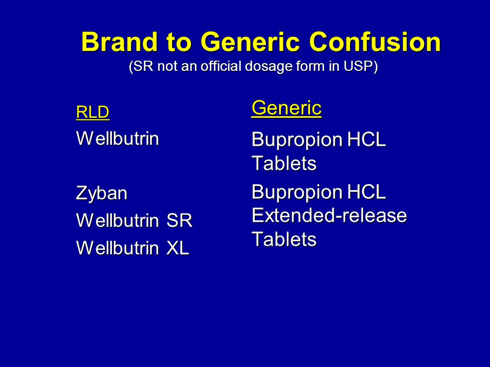 RLDWellbutrinZyban Wellbutrin SR Wellbutrin XL Generic Bupropion HCL Tablets Bupropion HCL Extended-release Tablets Brand to Generic Confusion (SR not an official dosage form in USP) Brand to Generic Confusion (SR not an official dosage form in USP)
