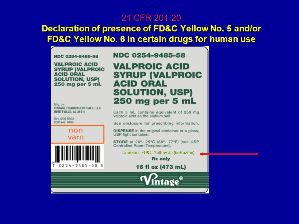21 CFR 201.20 Declaration of presence of FD&C Yellow No.