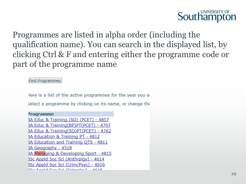 Programmes are listed in alpha order (including the qualification name).