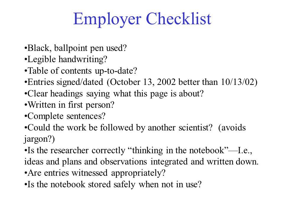 Employer Checklist Black, ballpoint pen used. Legible handwriting.