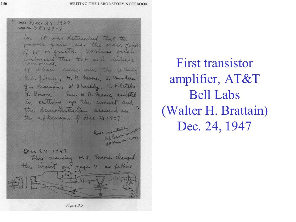 First transistor amplifier, AT&T Bell Labs (Walter H. Brattain) Dec. 24, 1947