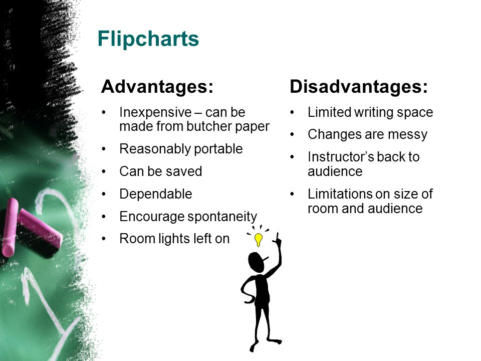 Flipcharts Advantages: Inexpensive – can be made from butcher paper Reasonably portable Can be saved Dependable Encourage spontaneity Room lights left on Disadvantages: Limited writing space Changes are messy Instructor's back to audience Limitations on size of room and audience