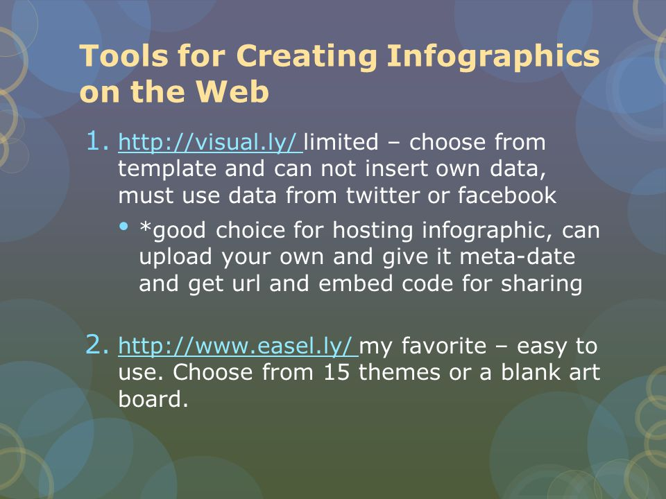 Tools for Creating Infographics on the Web 1.