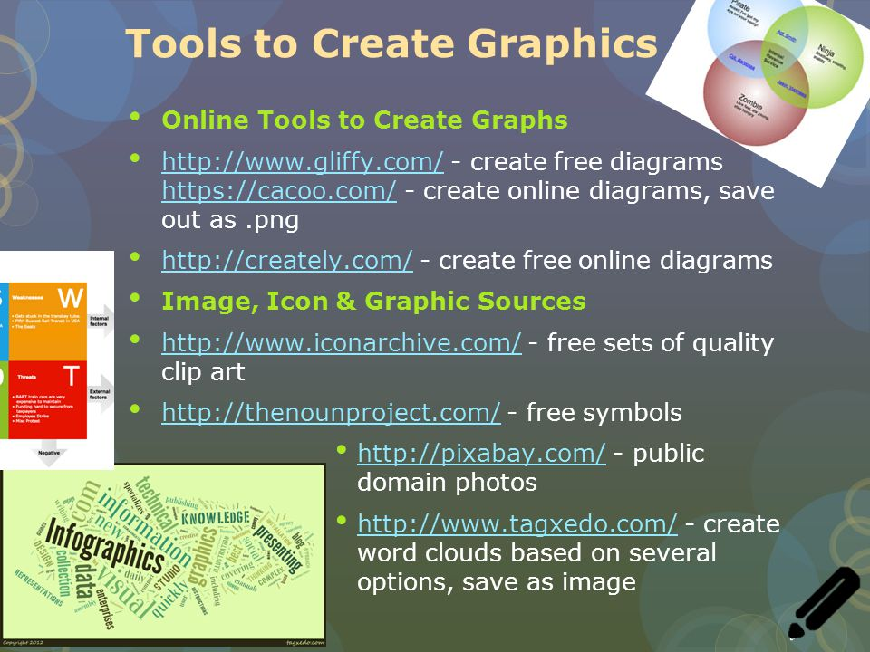 Tools to Create Graphics Online Tools to Create Graphs http://www.gliffy.com/ - create free diagrams https://cacoo.com/ - create online diagrams, save out as.png http://www.gliffy.com/ https://cacoo.com/ http://creately.com/ - create free online diagrams http://creately.com/ Image, Icon & Graphic Sources http://www.iconarchive.com/ - free sets of quality clip art http://www.iconarchive.com/ http://thenounproject.com/ - free symbols http://thenounproject.com/ http://pixabay.com/ - public domain photos http://pixabay.com/ http://www.tagxedo.com/ - create word clouds based on several options, save as image http://www.tagxedo.com/